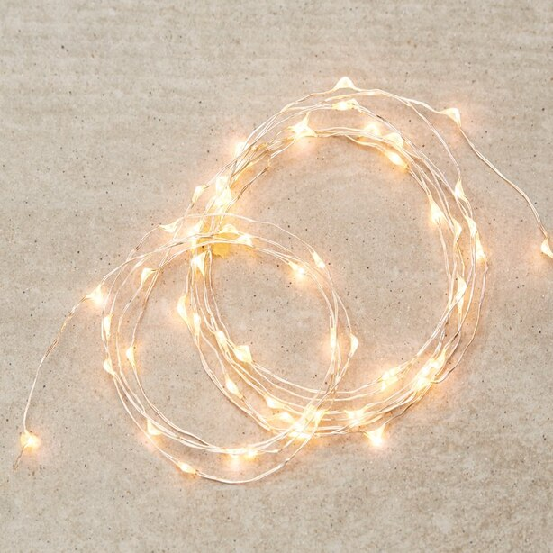 Silver-String LED 30-Light – Warm White, 5'