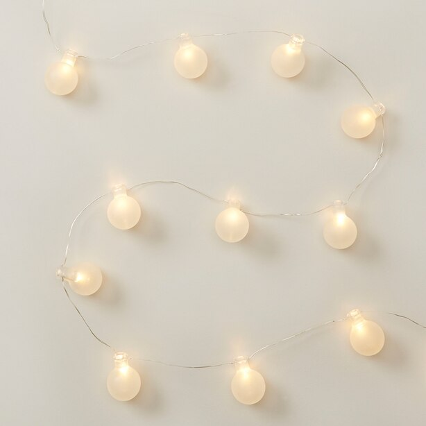 FROSTED GLASS ORB 30-LED LIGHT STRING