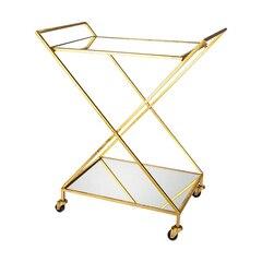 Gold Bar Cart with Mirror Shelves