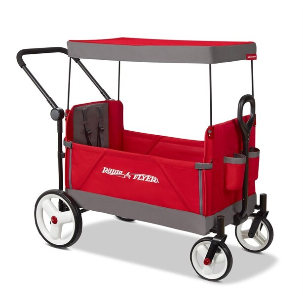 "CONVERTIBLE STROLLER WAGON, FOLDING WAGON - RED AND GRAY (47.5"" x 41.5"" x 24.5"")"