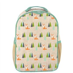 SOYOUNG Raw Linen Toddler Backpack, FOX PRINT
