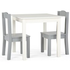 Tot Tutors Inspire Kids Furniture Table and 2 Chairs Grey and White
