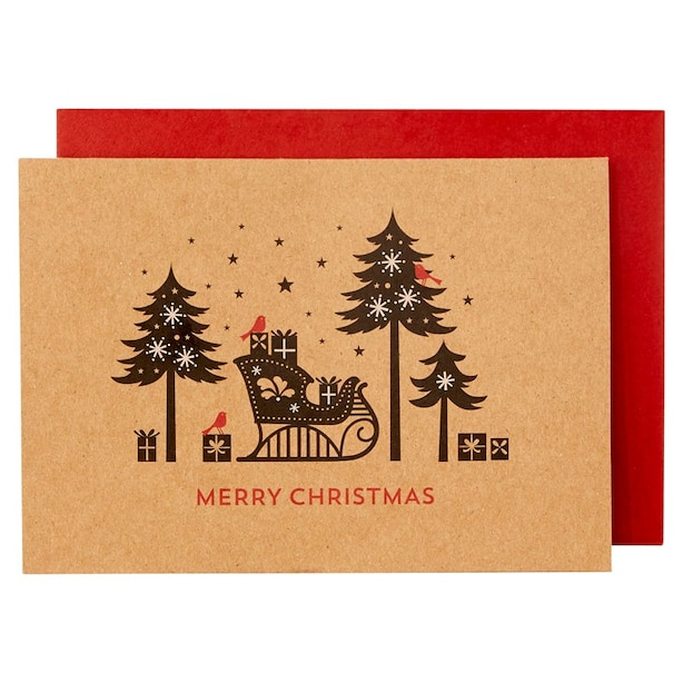 ECO SLEIGH SILHOUETTE BOXED NOTES, SET OF 16