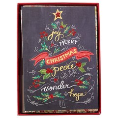 MERRY CHALKBOARD BOXED CHRISTMAS NOTE CARDS SET OF 14