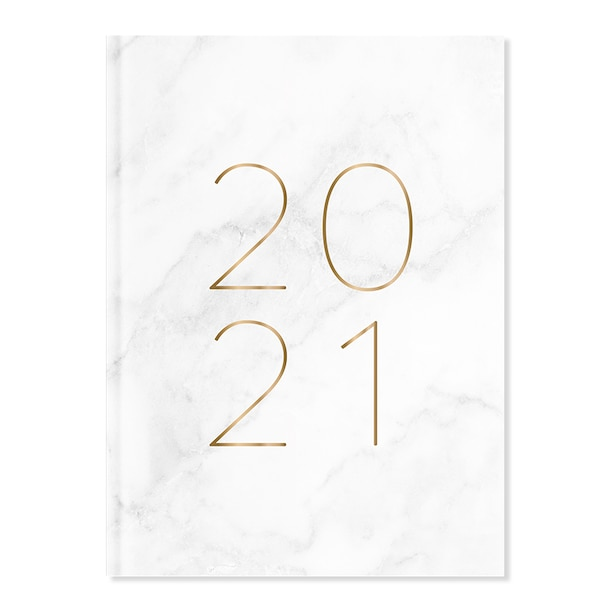 January - December 2021 Daily White Marble Planner