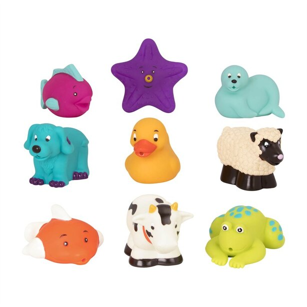 FARM AND SEA ANIMAL BATH SQUIRTS 9 PIECES