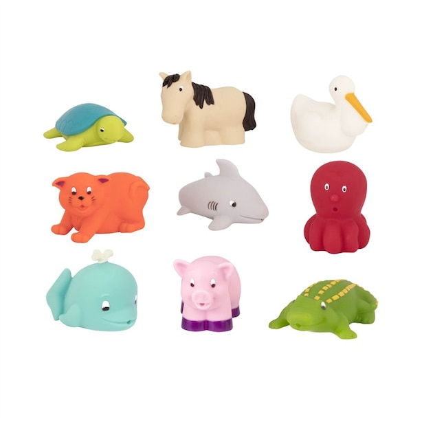 FARM & SEA ANIMAL BATH SQUIRTS 9 PIECES