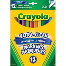 Crayola Ultra-Clean Washable Fine Line Markers, 12 pack