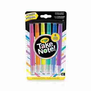 6 surligneurs effaçables Crayola Take Note!
