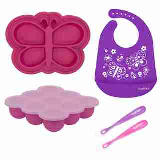Siliset All-In-One Silicone Feeding Gift Set Pink/Purple