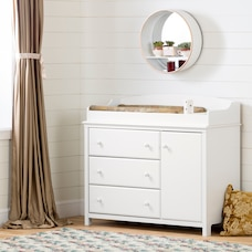 Cotton Candy Changing Table with Station, Pure White