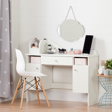 Vito Pure White and Pink Makeup Desk with Drawer