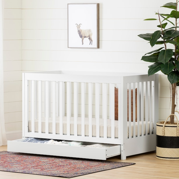Yodi Crib with Drawer , White