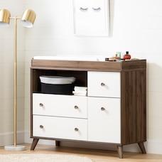 Table à langer avec tiroirs Yodi, Noyer Naturel et blanc solide