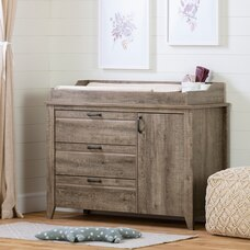 Lionel Changing Table with Drawers, Weathered Oak
