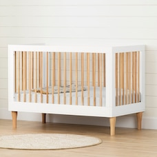 Balka Baby Crib with Adjustable Height, Pure White and Exotic Light Wood