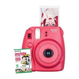 Fuji Instax Mini 8 Camera with 10 Pack Film - Raspberry