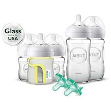 Philips Avent Natural Glass Gift Set with Bottles, Sleeves, and Pacifiers