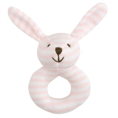 Elegant Baby® Rattle Mini Stripes Pink Bunny