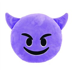 Emoji Small Pillow - Smiling with Horns