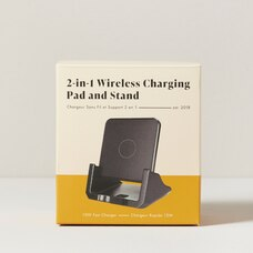 2-IN-1 WIRELESS CHARGING PAD AND STAND- BLACK