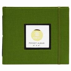 "KINSHO Pocket Photo Album 4"" x 4"" Moss"