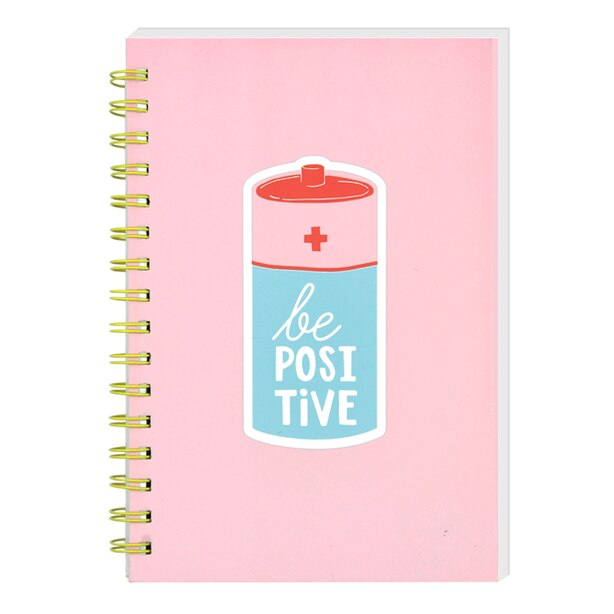 """SPIRAL NOTEBOOK BE POSITIVE WITH PINK COVER  120 SHEETS 5.75"""" x 8.5"""""""
