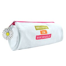 CANVAS  ROUND PENCIL POUCH  - BELIEVE IN YOURSELF