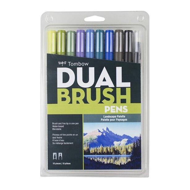 Tombow Dual Brush Calligraphy Pen Set Landscape 10 Pack