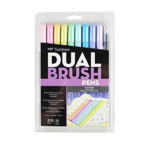 Tombow Dual Brush Calligraphy Pen Set Pastel 10 Pack
