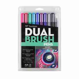 Tombow Dual Brush Calligraphy Pen Set Galaxy 10 Pack