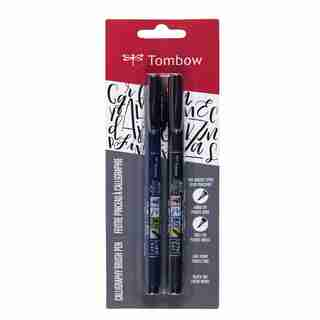 Tombow Fudenosuke Brush Calligraphy Pen Hard & Soft Tip Black 2 Pack