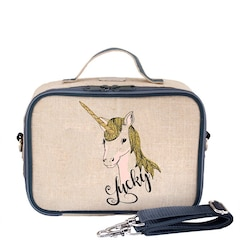 SOYOUNG RAW LINEN LUNCH BOX, LUCKY UNICORN