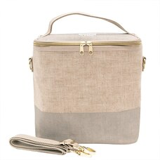 SOYOUNG POCHE LUNCH BAG CEMENT COLOUR BLOCK LINEN