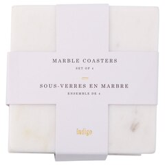 White Marble Coasters – Square, Set of 4