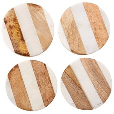 White Marble and Wood Coasters Set of 4
