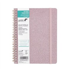 Yoobi 2018-2019 Academic Planner, Weekly & Monthly - Pink Glitter