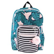 YOOBI YOUTH Kids BACKPACK, PALM PRINT WITH FLAMINGO KEYCHAIN