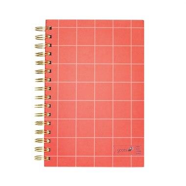"Yoobi™ Notebook Coral Grid Gold Spiral 5.75"" x 8.5"""