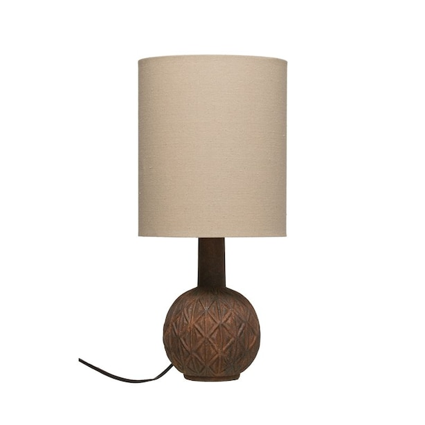 TERRACOTTA LAMP WITH LINEN LAMPSHADE MATTE RUST