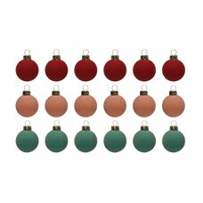 FLOCKED BALL ORNAMENTS RED SET OF 18