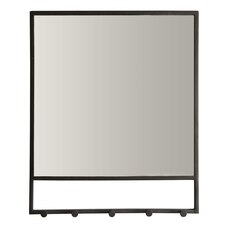 METAL WALL MIRROR WITH 5 HOOKS