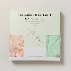 MICROFIBER HAIR TOWEL & SHOWER CAP