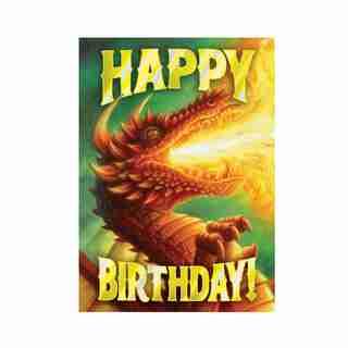 Paper E. Clips Birthday Card Ferocious Dragon