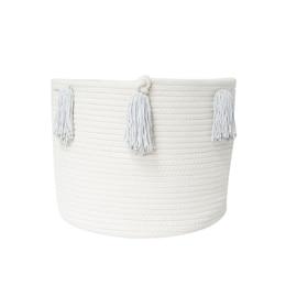 Grey Tassel Basket - Medium