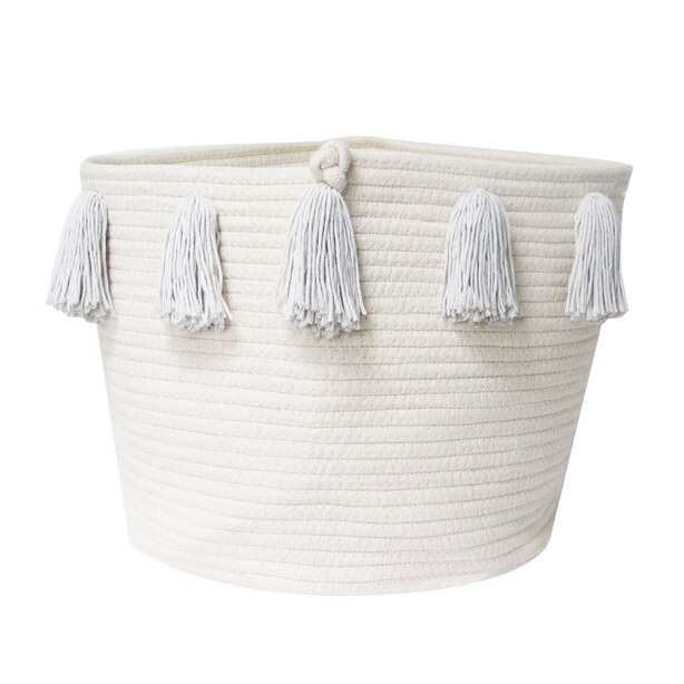Grey Tassel Basket - Large