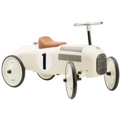 VINTAGE RIDE-ON METAL CAR, PEARLY WHITE
