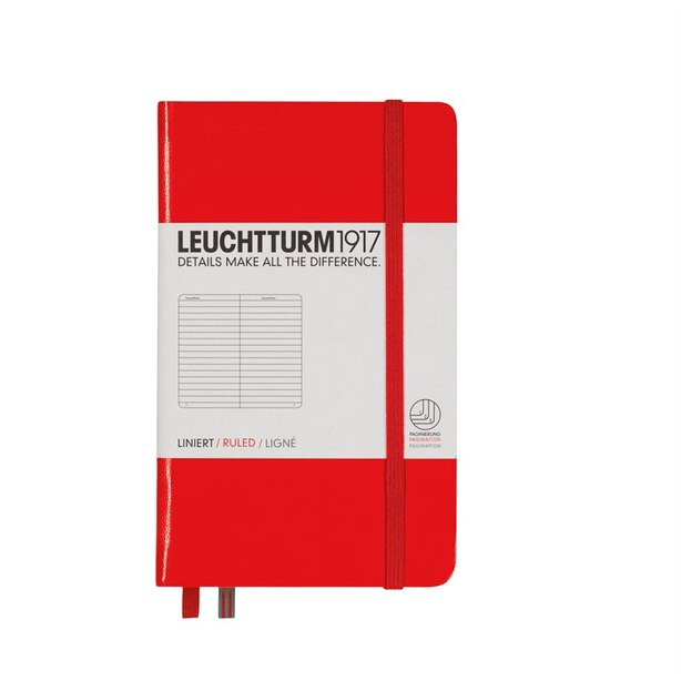Notebook Pocket (A6), Hardcover, 185 numbered pages, red