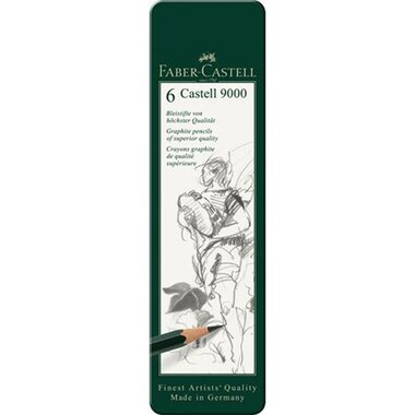 Faber Castell 9000 graphite pencil tin of 6