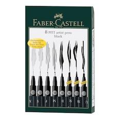 Faber Castell Pitt Artist Pen Black Set of 8
